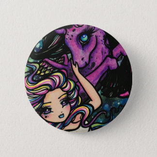 Pegasus Cosmic Rainbow Star Fairy Girl Fantasy Pinback Button