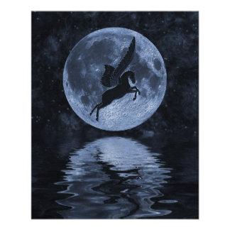"Pegasus flying before Moon 4.5"" X 5.6"" Flyer"