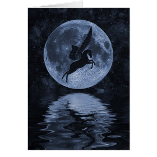 Pegasus flying before Moon Card