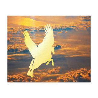 Pegasus Flying Into Sunrise Canvas