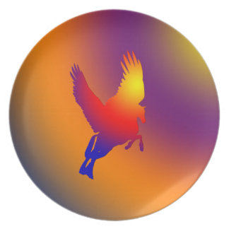 Pegasus Flying Into Sunrise Gradient Plate