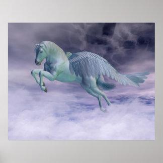 Pegasus Galloping through Storm Clouds Poster