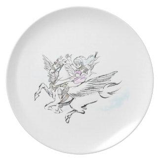 pegasus girl dinner plate