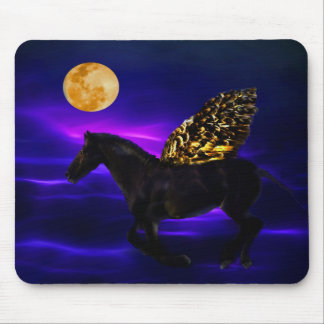 Pegasus golden horse with wings mousepad