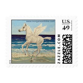 Pegasus Horse & Sea Gulls Fantasy postage stamp