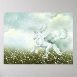 Pegasus in daisies print