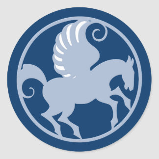 Pegasus in the circle into circle classic round sticker