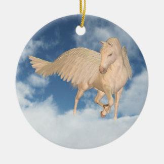 Pegasus Looking Down Through Clouds Ceramic Ornament