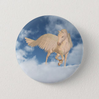 Pegasus Looking Down Through Clouds Pinback Button