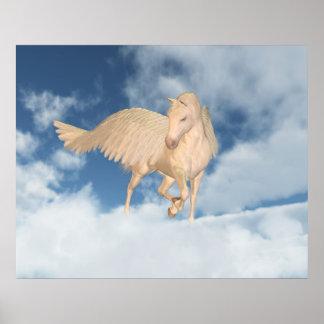 Pegasus Looking Down Through Clouds Poster
