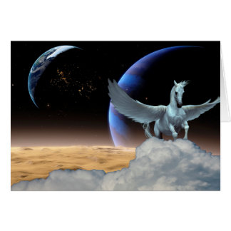 Pegasus, Moon and Earth All-Occasion Greeting Card