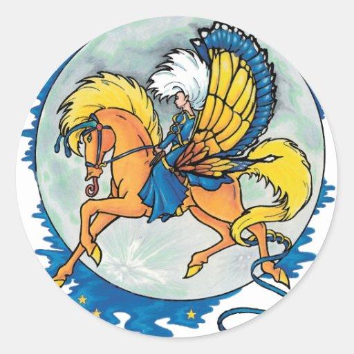 pegasus night rider classic round sticker