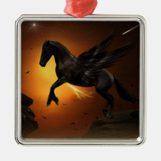 Pegasus Silver-Colored Square Decoration