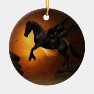 Pegasus Round Ceramic Decoration