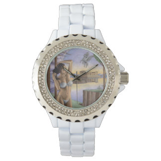 Pegasus Parthenon Rhinestone White Enamel Watch
