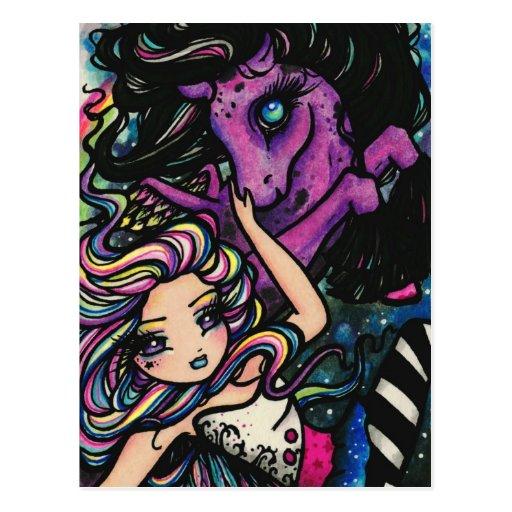 Pegasus Rainbow Galaxy Star Fairy Fantasy Art Girl Postcards