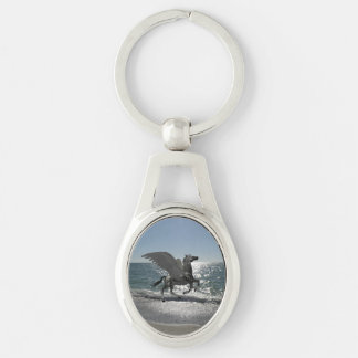 Pegasus Taking Flight Silver-Colored Oval Metal Keychain