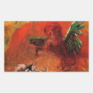 """Pegasus & the Hydra"" by Odilon Redon Rectangular Sticker"