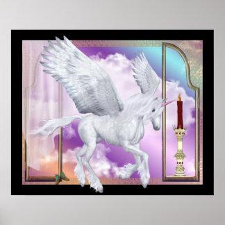 Pegasus Unicorn Window Scene Print