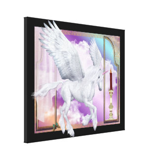 Pegasus Unicorn Window Scene Wrapped Canvas Canvas Print