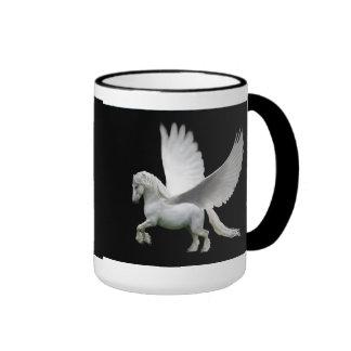 Pegasus, white andalusian stallion horse ringer mug