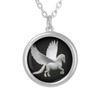 Pegasus, white andalusian stallion horse silver plated necklace