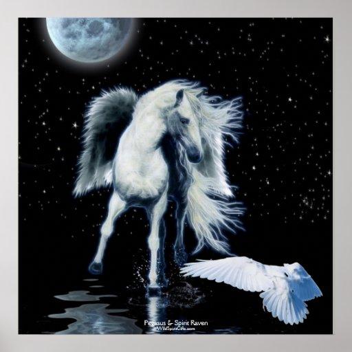 PEGASUS & WHITE RAVEN Fantasy Poster