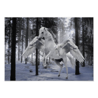 Pegasus Winged Flying Horse Forest Snow Poster