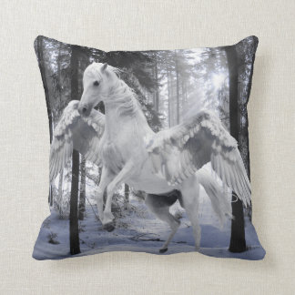 Pegasus Winged Flying Horse Forest Snow Throw Pillow