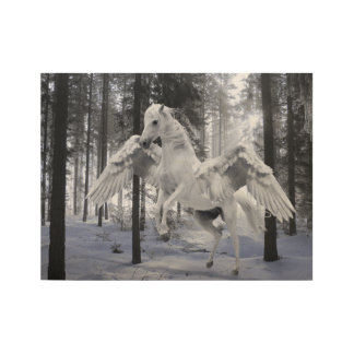 Pegasus Winged Flying Horse Forest Snow Wood Poster
