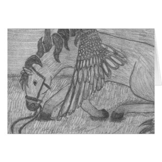Pegasus Winged Horse bowing sketch Pencil Drawing Stationery Note Card