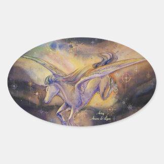 Pegasus With Nebula Oval Sticker