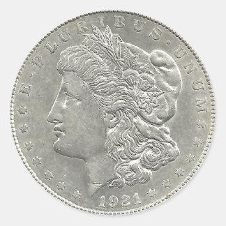 Pegatina 1921 del dólar de plata de Morgan