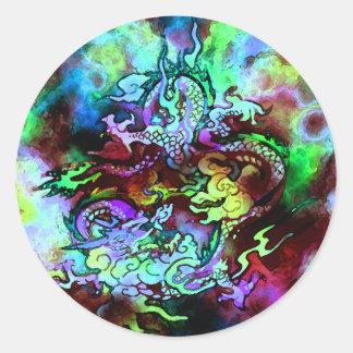 Pegatina #1 del dragón de la acuarela