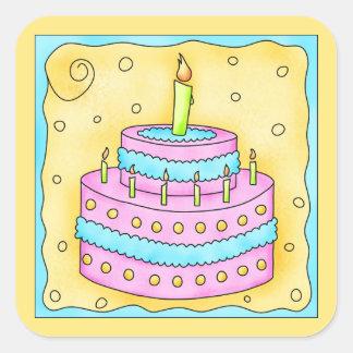 Pegatina 1r de la torta del rosa del feliz