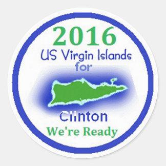 Pegatina 2016 de las Islas Vírgenes de Clinton
