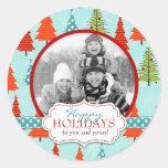 Pegatina 2 de la foto del navidad de la diversión