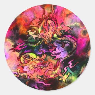 Pegatina #2 del dragón de la acuarela