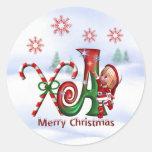Pegatina A del navidad del monograma