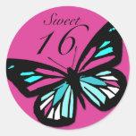 Pegatina a juego de la mariposa del dulce 16