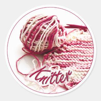 Pegatina abigarrado del rosa y blanco del calceter