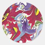 Pegatina abstracto blanco y azul rojo del diseño f