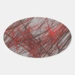 Pegatina abstracto gris rojo del óvalo del fractal