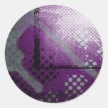 Pegatina abstracto negro blanco púrpura