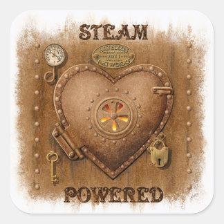 Pegatina accionado vapor del corazón de Steampunk