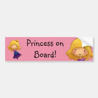 Pegatina adaptable de la princesa a bordo etiqueta de parachoque