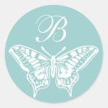 Pegatina adaptable del monograma de la mariposa bl