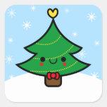 Pegatina adorable del árbol de navidad del dibujo