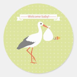 Pegatina agradable del bebé de la cigüeña