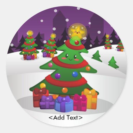 Pegatina alegre del árbol de navidad